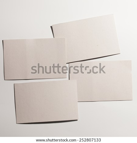 Stack of blank four business cards. Business concept - stock photo