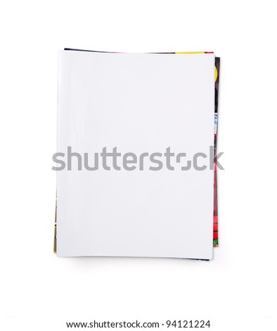 Stack of blank magazines isolated on white with copy space - stock photo