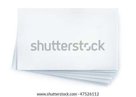 Stack of blank white business cards, isolated on white.  Plenty of copy-space. - stock photo