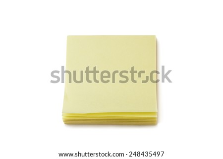 Stack of blank yellow sticky notes, isolated on white background. - stock photo