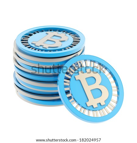 Stack of blue and silver bitcoin peer-to-peer digital currency coins with a single coin next to it, isolated over white background - stock photo