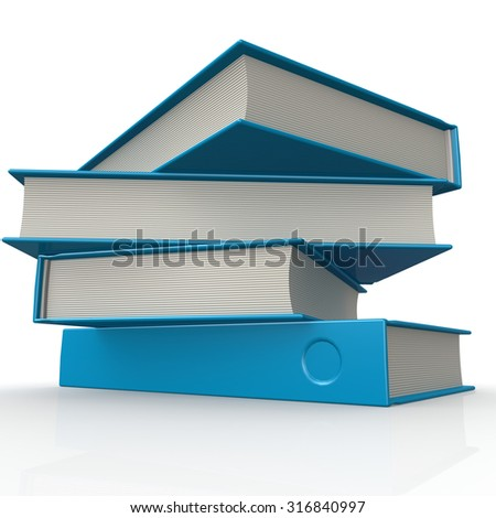 Stack of blue books image with hi-res rendered artwork that could be used for any graphic design. - stock photo