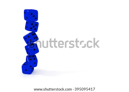 Stack of blue dice on a white background - stock photo