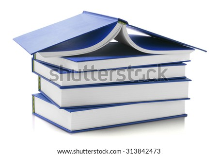 Stack of Blue Hard Cover Books on White Background - stock photo