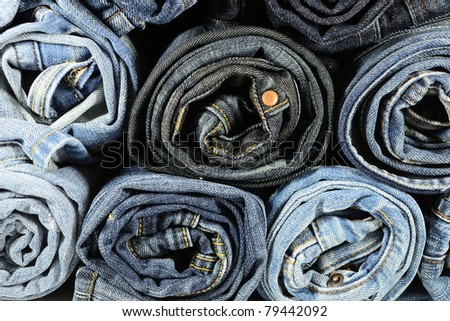 Stack of Blue Jeans - stock photo