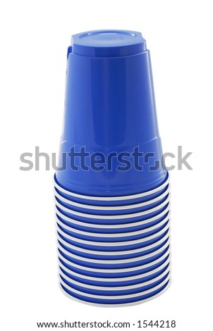 Stack of blue plastic cups for a summer picnic - stock photo