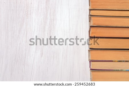 stack of books and a place for text - stock photo