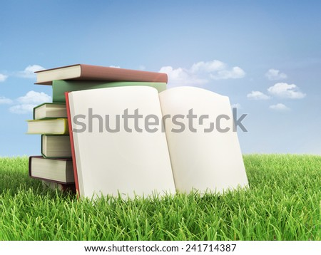 Stack of books and open book on the grass. - stock photo