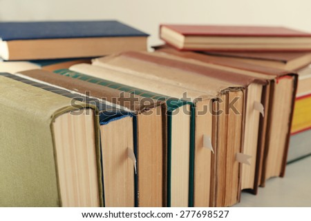 Stack of books close up - stock photo