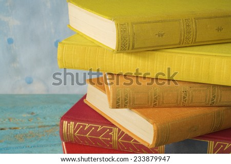 stack of books, close up, free copy space  - stock photo