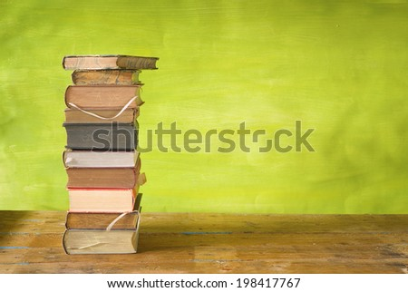 stack of books free copy space - stock photo