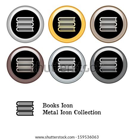 Stack of Books Icon Metal Icon Set.  Raster version. - stock photo
