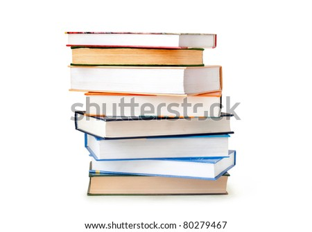 Stack of books isolated on white background - stock photo