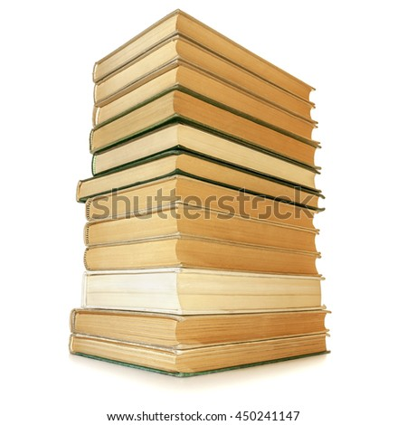 Stack of books isolated on white on white background. - stock photo