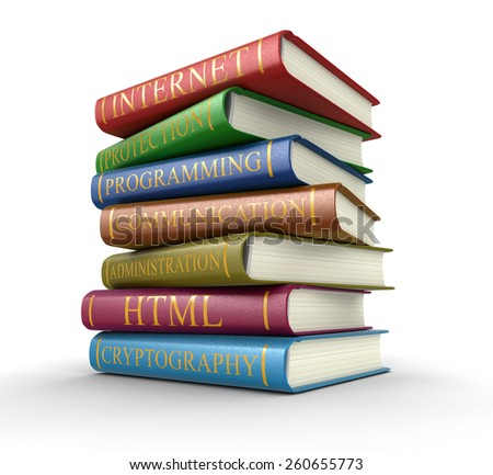 Stack of books on computer security (clipping path included) - stock photo