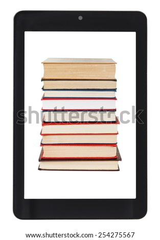 stack of books on screen of tablet pc isolated on white background - stock photo