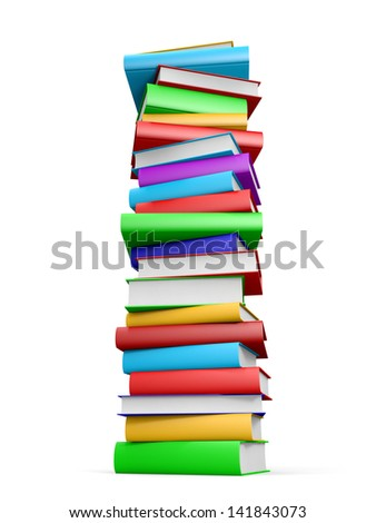 Stack of books on white background. 3D illustration. - stock photo