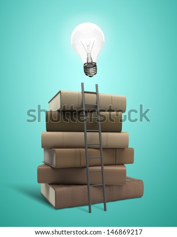 stack of books with lightbulb and ladder - stock photo