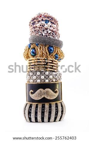 stack of bracelets on a white background - stock photo