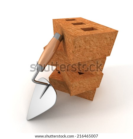 stack of bricks with a mortar trowel on white background. 3d render illustration - stock photo
