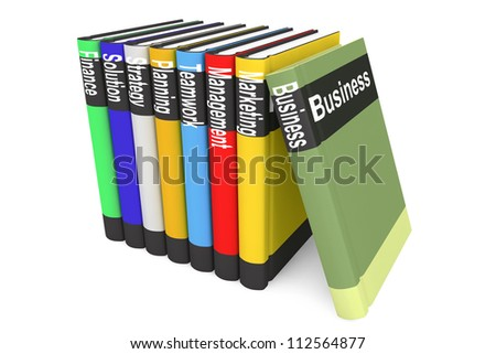 Stack of Business Books on a white background - stock photo