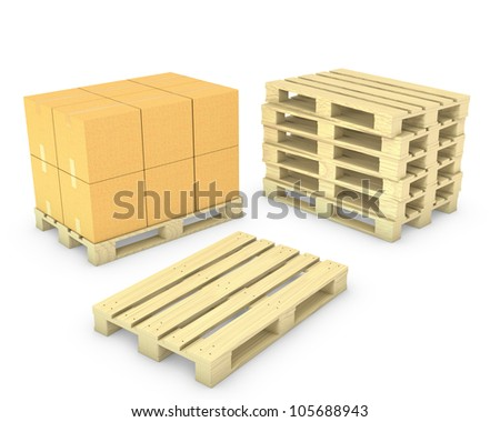 Stack of cardboard boxes and stack of pallets, isolated on white - stock photo