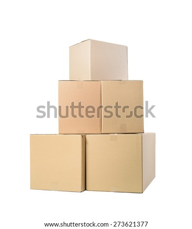 Stack of cardboard boxes on white background - stock photo
