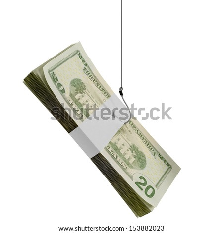 Stack of cash on a fishing hook. Isolated on white. - stock photo
