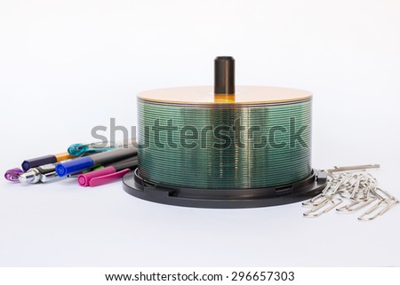 Stack of CD and stationary - stock photo