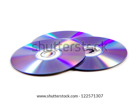 stack of cd roms. CD & DVD disk on white background - stock photo