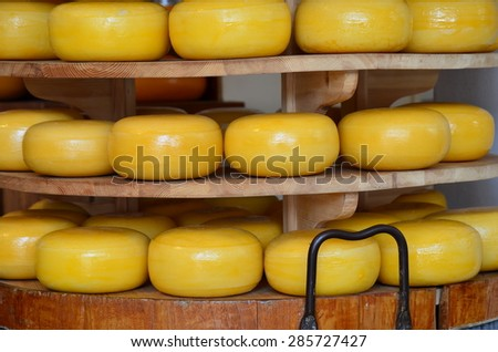 Stack of cheese in a shop from Delft, Netherlands - stock photo