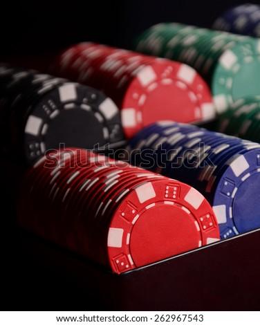 Stack of chips. Poker. Blackjack. Roulette. - stock photo