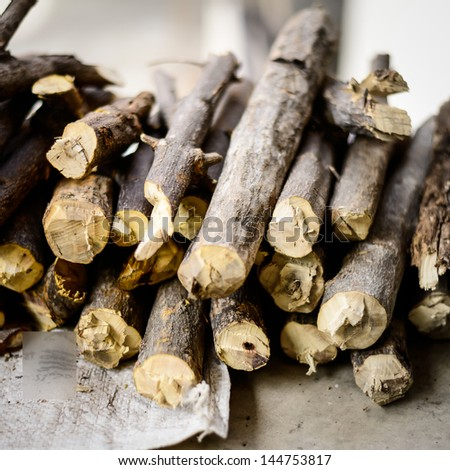 Stack of chopped firewood. - stock photo