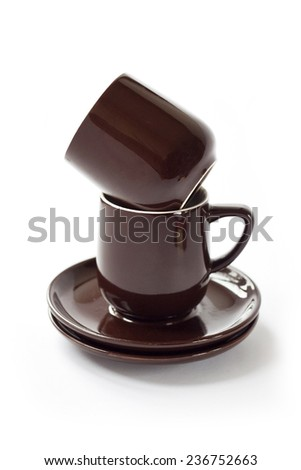 Stack of clean brown crockery  - stock photo