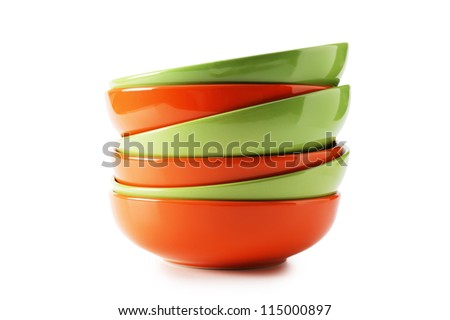 stack of clean empty plates  isolated on white background - stock photo