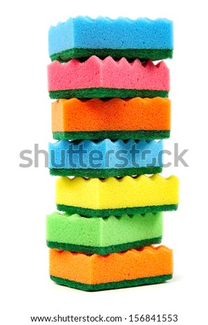 Stack of cleaning sponges on a white background. - stock photo