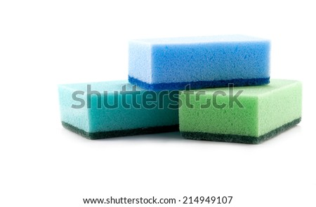 Stack of cleaning sponges on a white background - stock photo