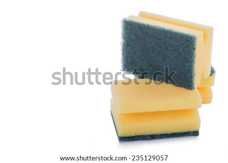 Stack of Cleaning Sponges on a White Background.Copy Space  - stock photo