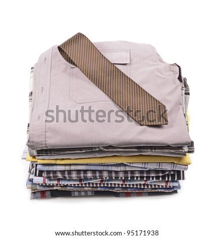 stack of clothing,shirt,tie, isolated on white - stock photo