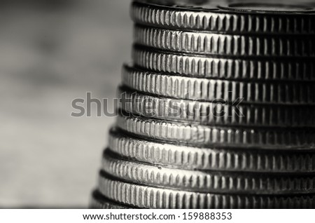 Stack of coins black and white macro - stock photo