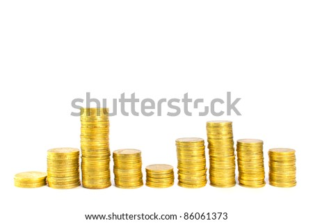 stack of coins isolated - stock photo