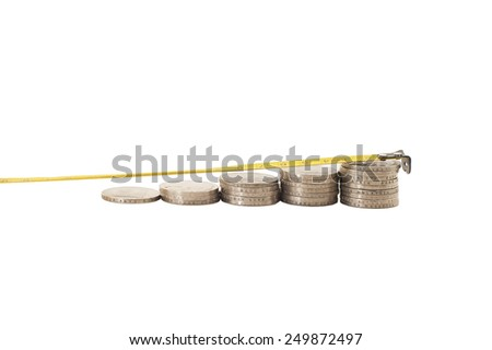 Stack of coins isolated on white. - stock photo