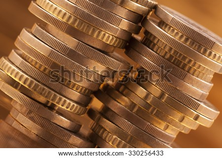 Stack of coins, macro shot  - stock photo