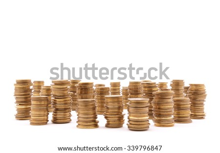 Stack of coins on white background  - stock photo