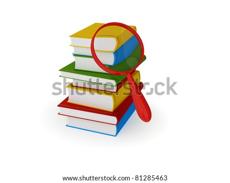 Stack of colorful books and loupe. 3d rendered. Isolated on white background. - stock photo