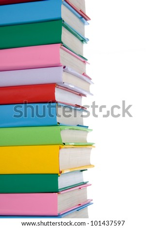 Stack of colorful books on white background - stock photo