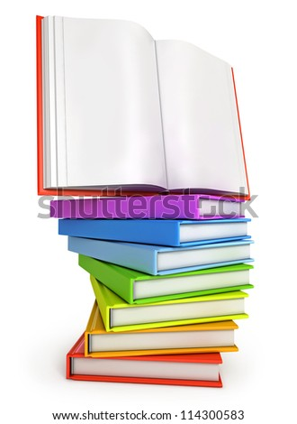 Stack of colorful books with open book on the top. Isolated on white background. 3d render - stock photo