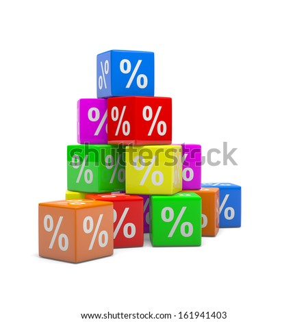 Stack of Colorful Boxes Percentage Symbol 3D Illustration, Discount Sales Concept - stock photo