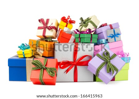 stack of colorful gift boxes - stock photo