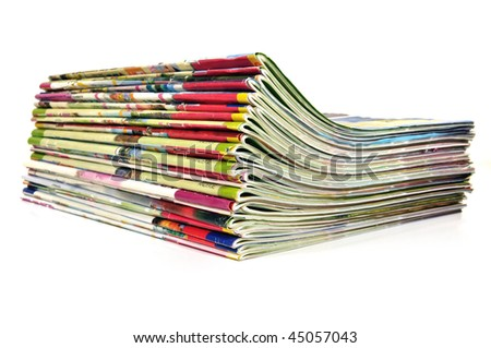 Stack of colorful magazines - stock photo